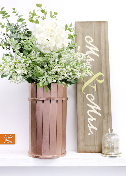 paint stick wooden vase diy and photos from crafty sticks. Black Bedroom Furniture Sets. Home Design Ideas