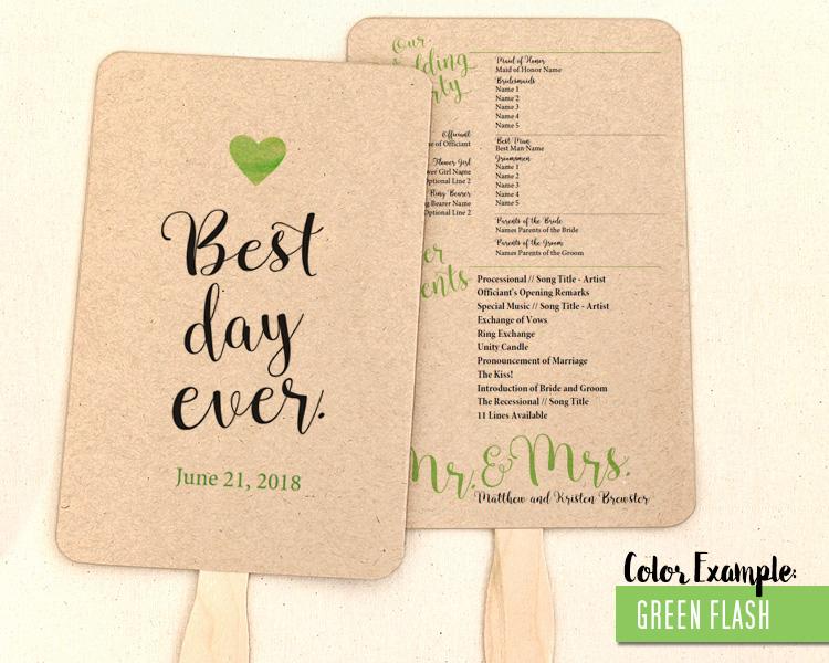 Best Day Ever Wedding Program Fan Cool Colors