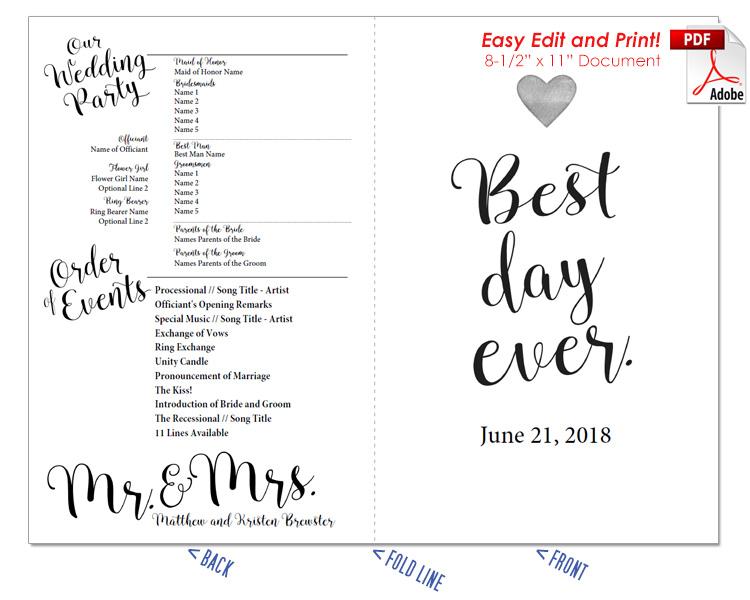 Best Day Ever Wedding Program Fan -Cool Colors