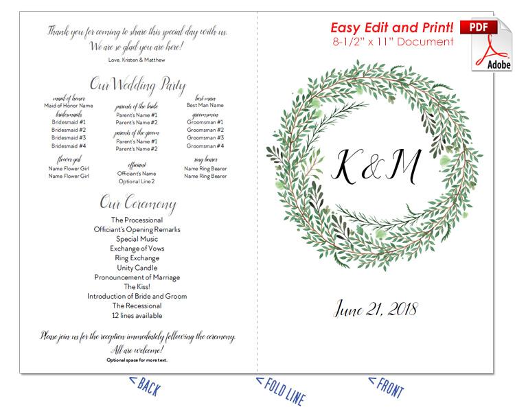 Botanical Wreath Wedding Program Fan -Cool Colors