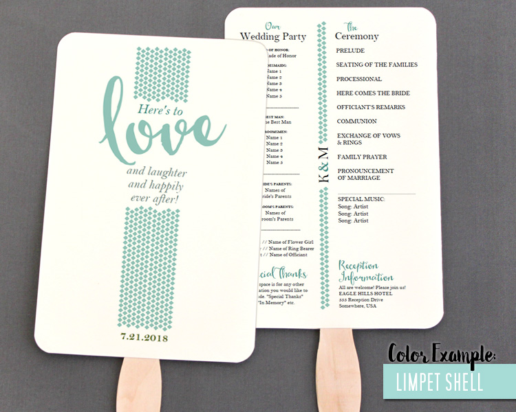 Love And Laughter Wedding Program Fan Cool Colors - Wedding fan program template