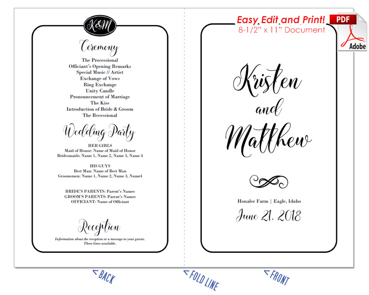 Simple Border Script Wedding Program Fan Cool Colors