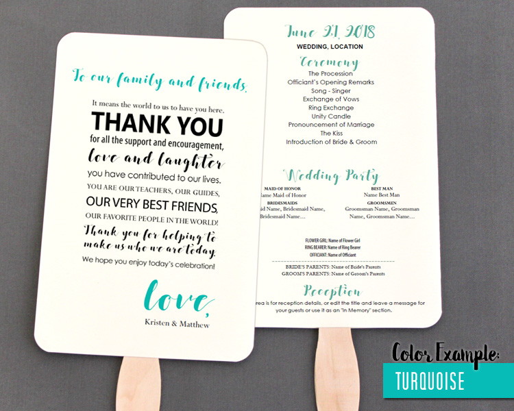 Thank You Message Wedding Program Fan Cool Colors Editable Template