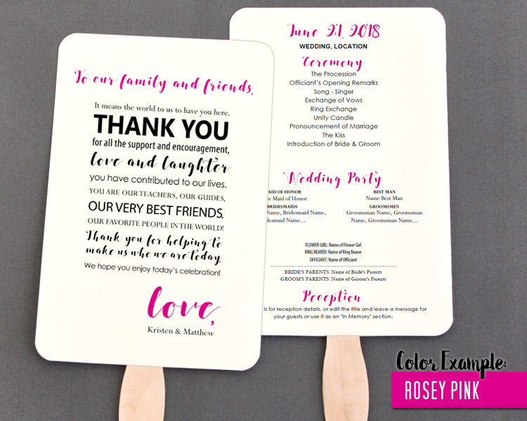 Thank you message for wedding wedding photography thank you message wedding program fan warm colors editable fan template thecheapjerseys Image collections