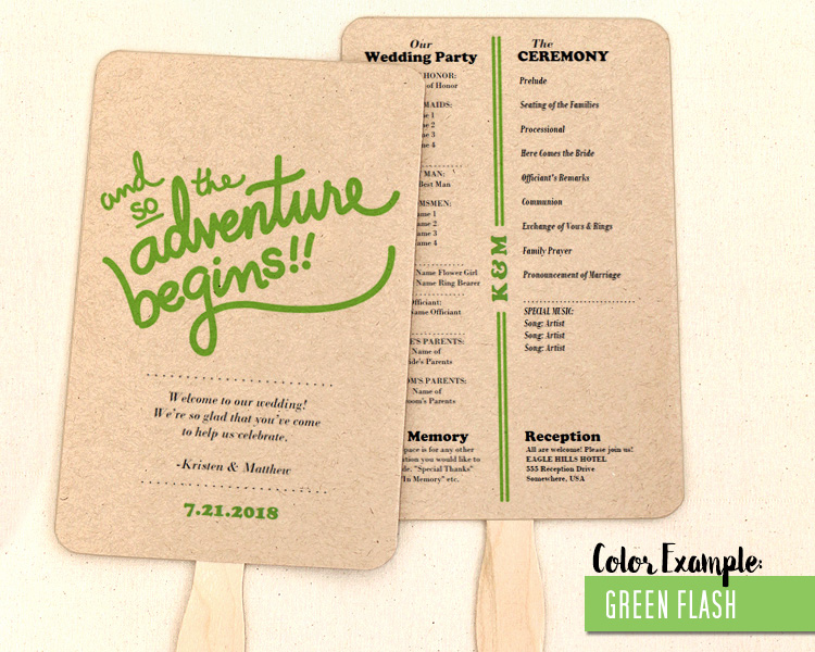 The Adventure Begins Wedding Program Fan Cool Colors