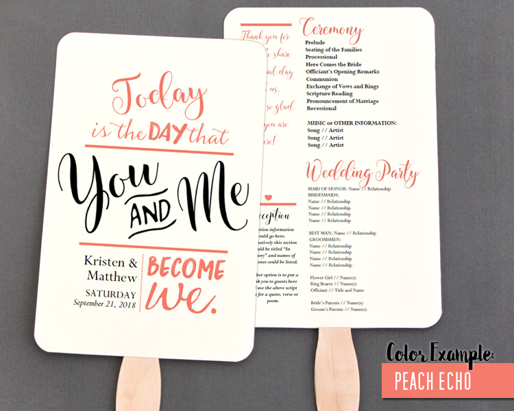You And Me Become We Wedding Program Fan Warm Colors