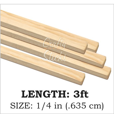 "1/4"" Square Wood Dowel -3' Length"