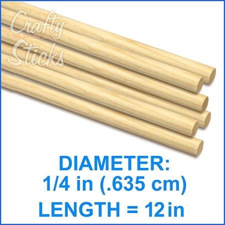 "1/4"" Round Wood Dowel -1' Length"