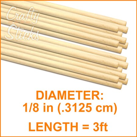 "1/8"" Round Wood Dowel -3' Length"