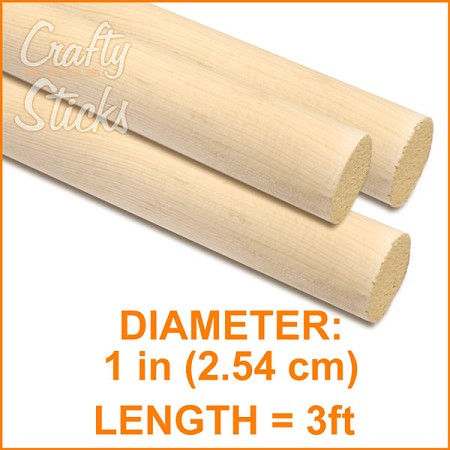 "1"" Round Wood Dowel -3' Length"