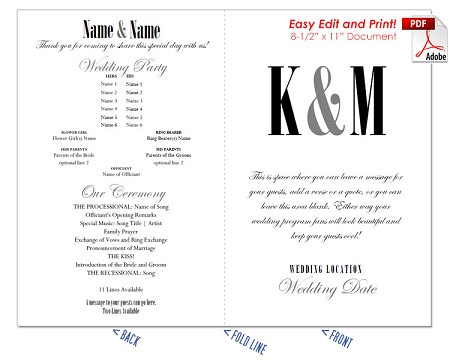 Ampersand and Initials Wedding Program Fan -Cool Colors