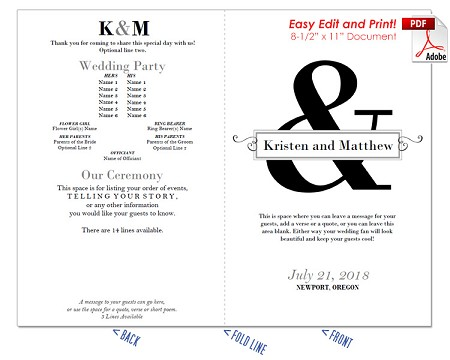 Ampersand with Text Box Wedding Program Fan -Cool Colors