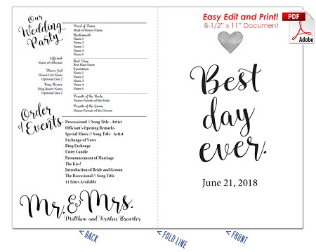 Best Day Ever Wedding Program Fan -Warm Colors