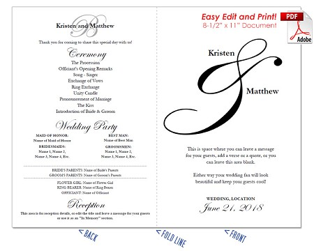 Elegant Ampersand Wedding Program Fan -Cool Colors