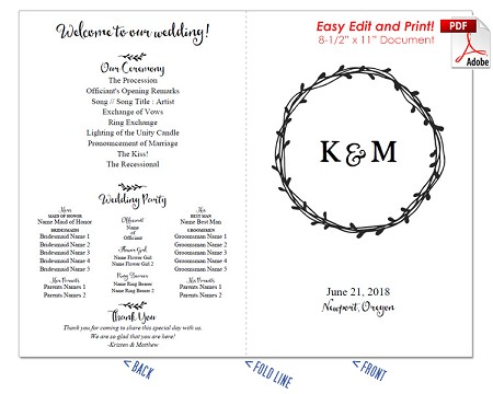 Laurel Wreath Wedding Program Fan -Cool Colors