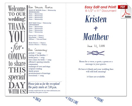 Nautical 1 Wedding Program Fan -Cool Colors