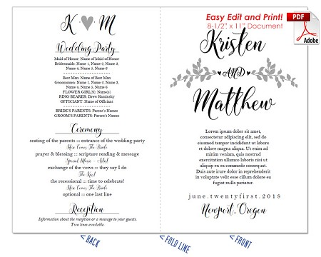 Whimsical Branches Wedding Program Fan -Cool Colors