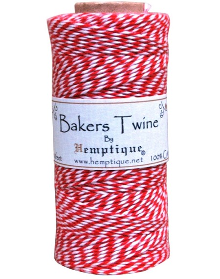 Hemptique Baker's Twine 125 meters -Red White
