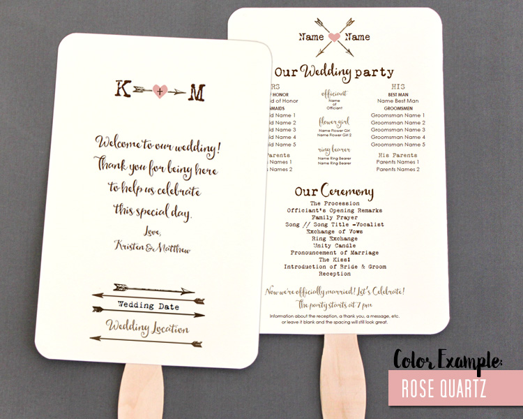 Blush Ampersand Wedding Program Fan