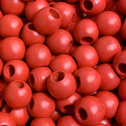 12mm Red Wood Beads with Large Hole, 5mm Opening, Round Spacer Bead