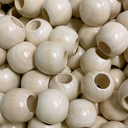 20mm Round Wooden Beads -8mm Opening, Natural Wood, Matte Finish
