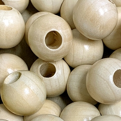 25mm Round Wooden Beads -8mm Opening, Natural Wood, Matte Finish