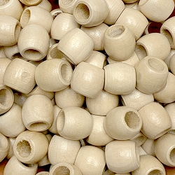 11x13mm Natural Wood Beads with Large Hole, 5mm Opening, Barrel Spacer Bead