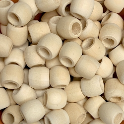 11x13mm Unfinished Wood Beads with Large Hole, 5mm Opening, Barrel Spacer Bead