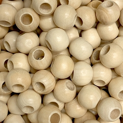 12mm Natural Wood Beads with Large Hole, 5mm Opening, Round Spacer Bead