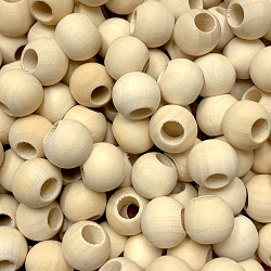 12mm Unfinished Wood Beads with Large Hole, 5mm Opening, Round Spacer Bead