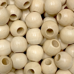 16mm Natural Wood Beads with Large Hole, 5mm Opening, Round Spacer Bead
