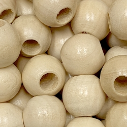 20mm Natural Wood Beads with Large Hole, 8mm Opening, Round Bead