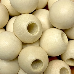 25mm Natural Wood Beads with Large Hole, 8mm Opening, Large Round Bead