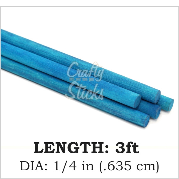 Square Wood Dowel, Blue, 1/4 x 36 Inch