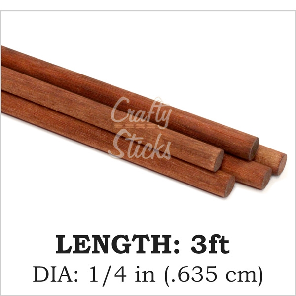 Square Wood Dowel, Brown, 1/4 x 36 Inch