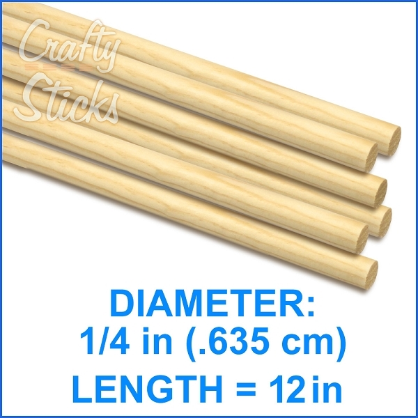 Round Natural Pine Wood Dowel, 1/4 x 12 Inch, Made in the USA