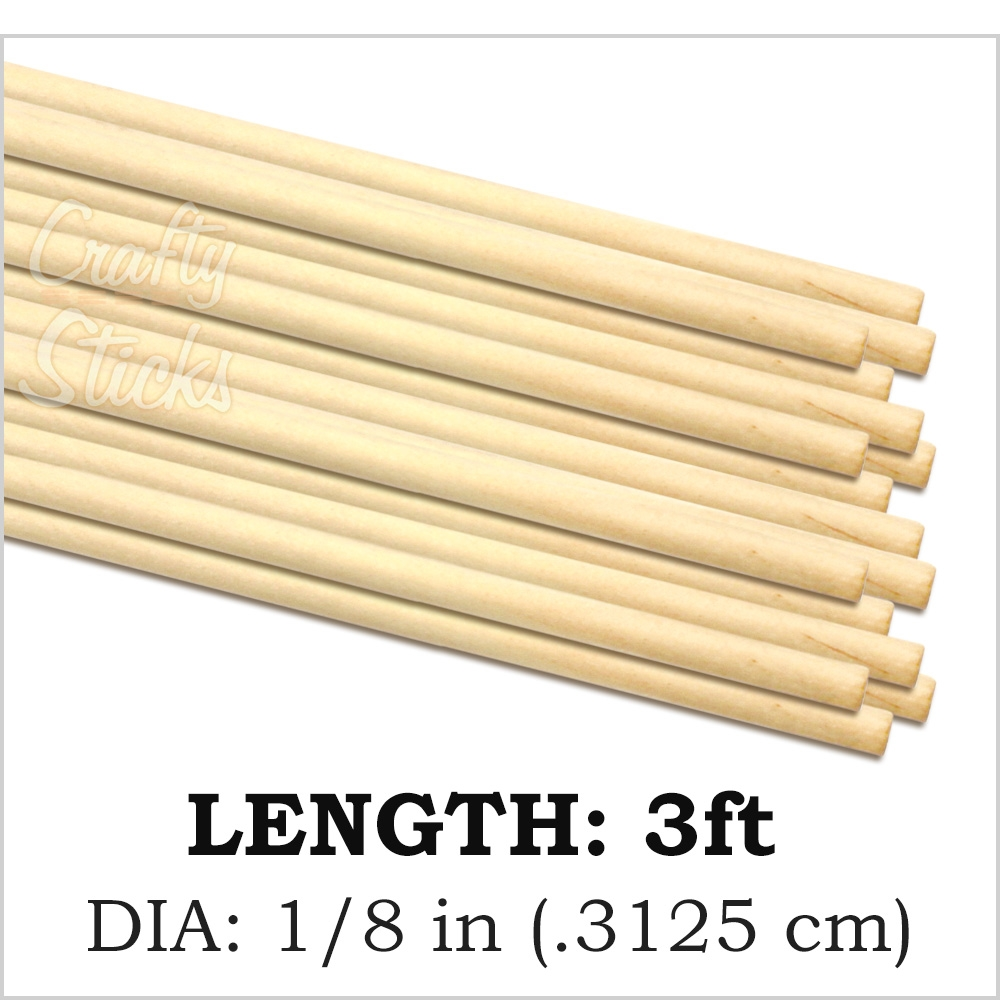 Round Natural Pine Wood Dowel, 1/8 x 36 Inch, Made in the USA