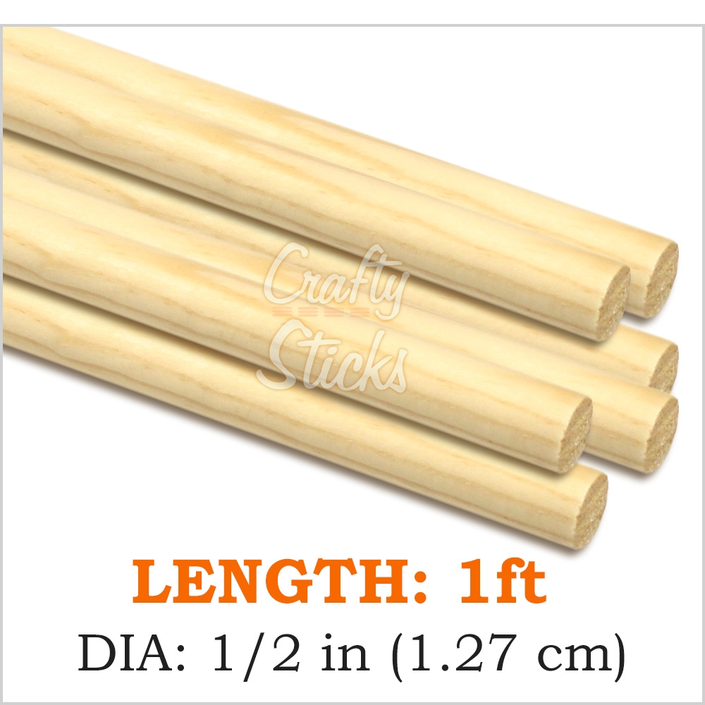 Round Pine Wood Dowel 1/2 x 12 Inch, Made in the USA