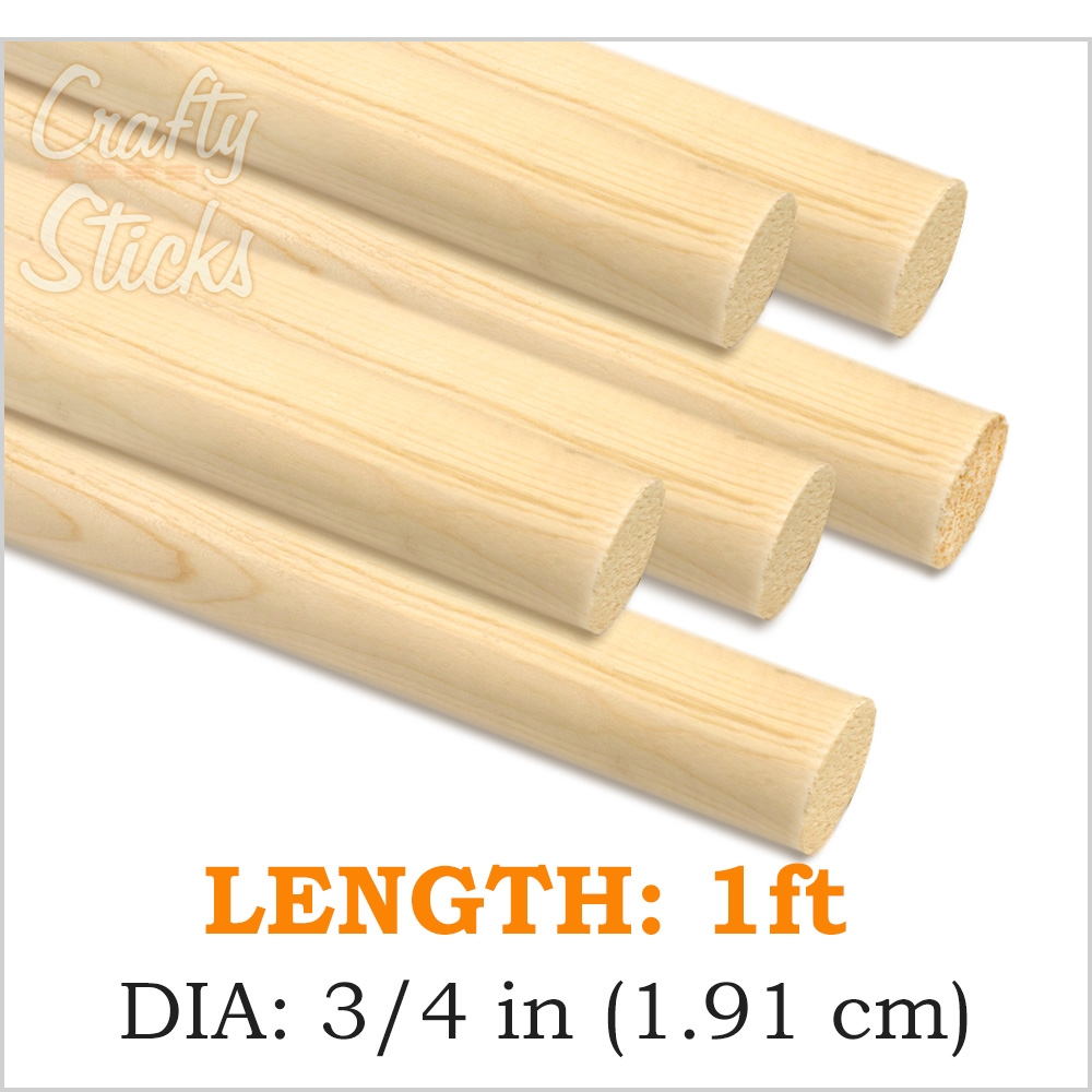 Round Pine Wood Dowel, 3/4 x 12 Inch, Made in the USA