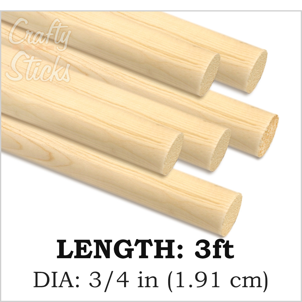 Round Natural Pine Wood Dowel, 3/4 x 36 Inch, Made in the USA