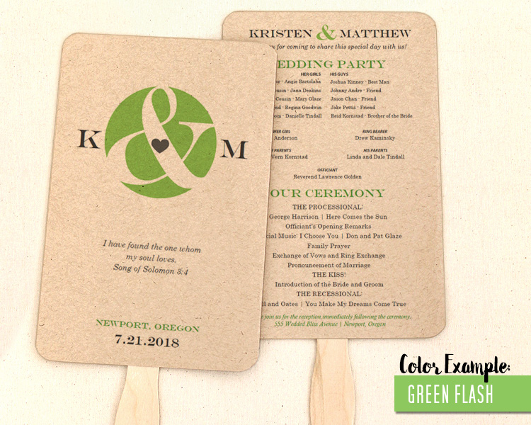 ampersand and heart wedding program fan cool colors