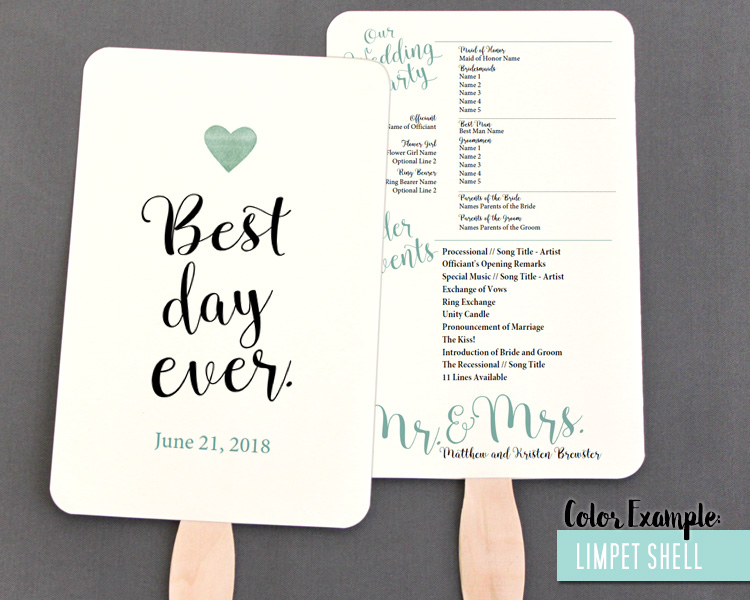 Best Day Ever Wedding Program Fan Cool Colors