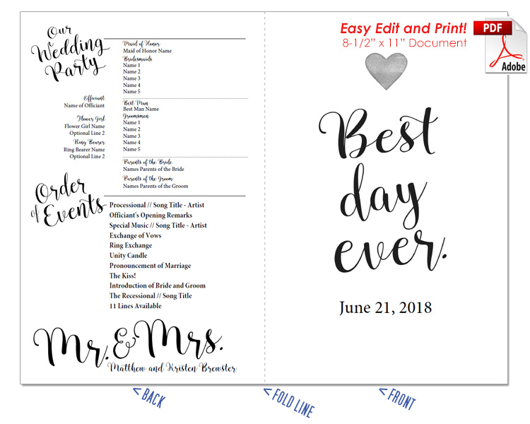 Best Day Ever Wedding Program Fan Cool Colors - Easy wedding program template
