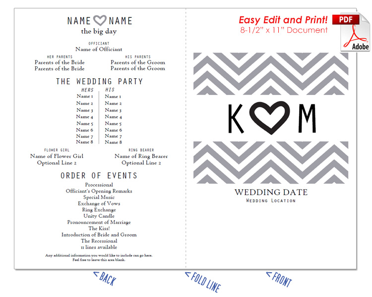 Chevron and Heart Wedding Program Fan -Cool Colors