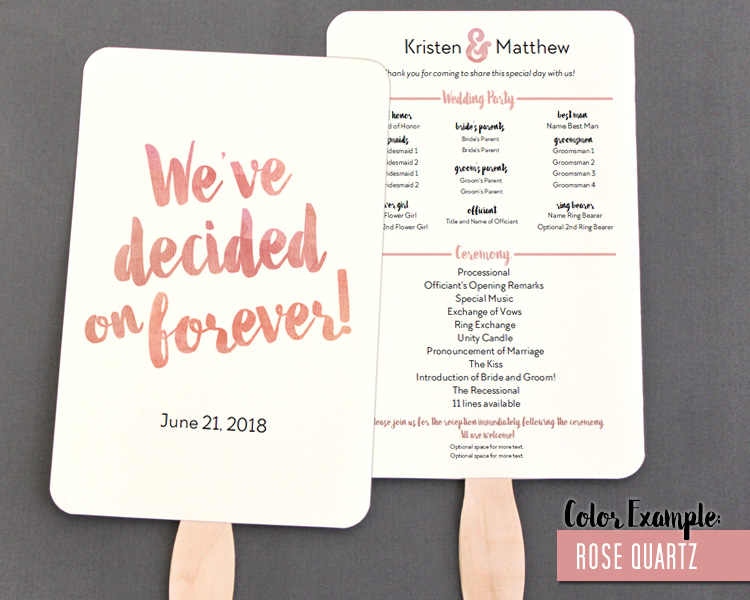 decided on forever watercolor wedding program fan warm colors