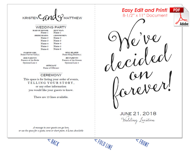 Decided on Forever Wedding Program Fan -Cool Colors