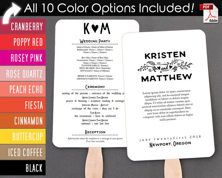 Fairy Tale Wedding Program Fan Warm Colors Editable Template