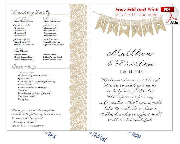 Mr and Mrs Banner Wedding Program Fan -Warm Colors