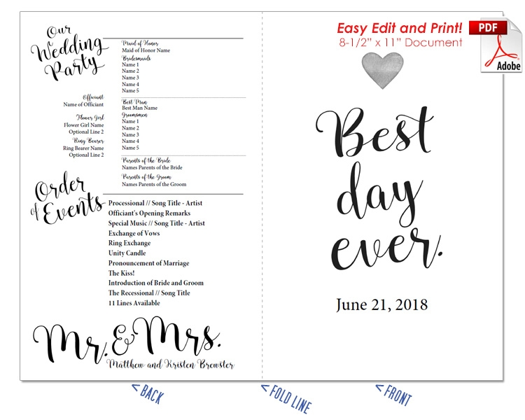 Best Day Ever Wedding Program Fan -Cool Colors