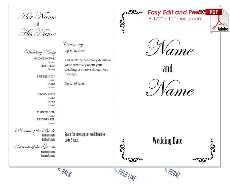Border Scrolls 1 Wedding Program Fan -Cool Colors